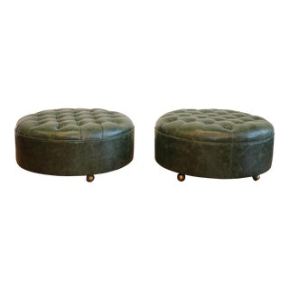 Vintage Pair of Hollywood Regency Tufted Ottomans For Sale