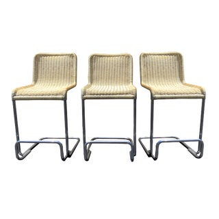 Late 20th Century Vintage Outdoor Wicker and Chrome Bar Stools- Set of 3 For Sale