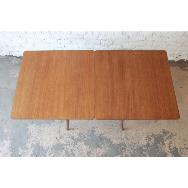 Harvey Probber Mid-Century Modern Bleached Mahogany Saber Leg Flip Top Extension Dining or Game Table For Sale - Image 9 of 10