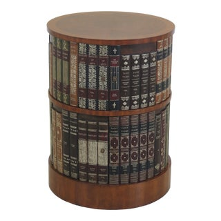 English Traditional Maitland Smith Round Occasional Table W. Leather Book Sides For Sale