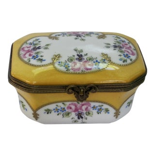 French Limoges Hand Painted Floral Box For Sale