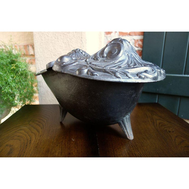 Black Antique French Gothic Victorian Cast Iron Fireplace Coal Hod For Sale - Image 8 of 11