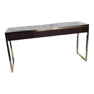 Stainless Steel and Brass Sofa Table by Modern History For Sale