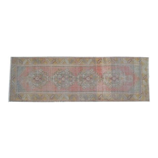 Faded Colors Oushak Runner - Distressed Pastel Hallway Rug 2'12″ X 9'4″ For Sale