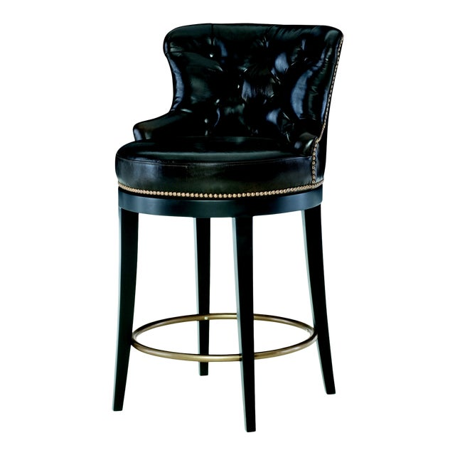 Century Furniture Forte Swivel Counter Stool, Sumatra Leather For Sale