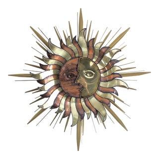 Brutalist Brass Copper Celestial Sun Moon Face Wall Sculpture For Sale