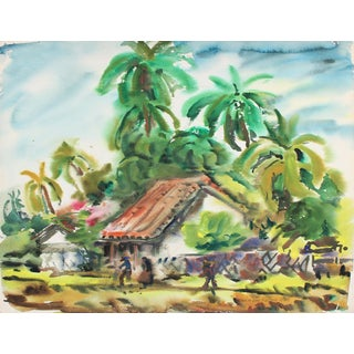Watercolor Landscape of a Spanish Style Home With Palm Trees, Mid 20th Century For Sale