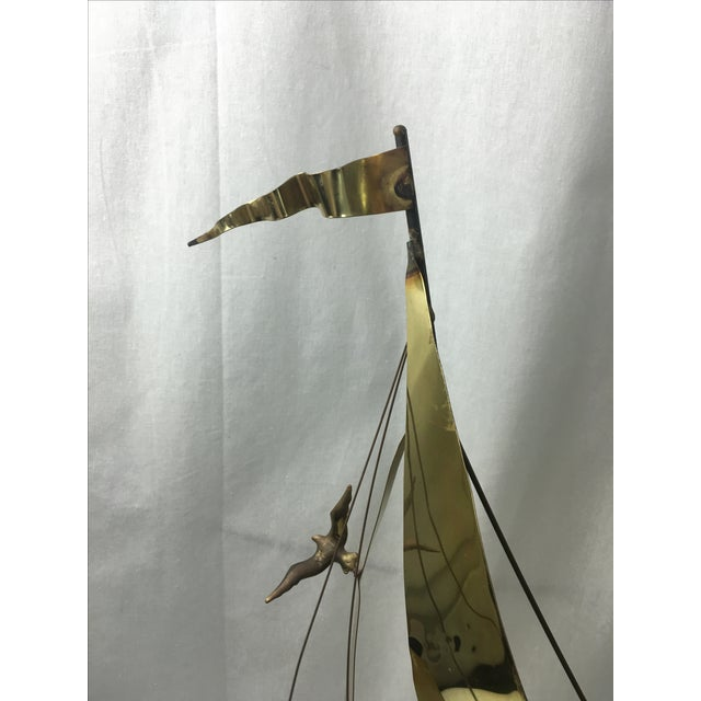 1960's Brass Ship Sculpture on Onyx Base - Image 7 of 9