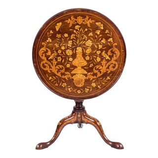 19th Century Dutch Marquetry Tilt-Top Table For Sale