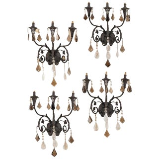 Set of Four Rock Crystal and Smokey Rock Crystal Sconces For Sale