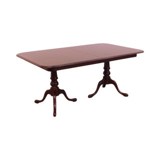 Ethan Allen Solid Cherry Queen Anne Double Pedestal Dining Table For Sale