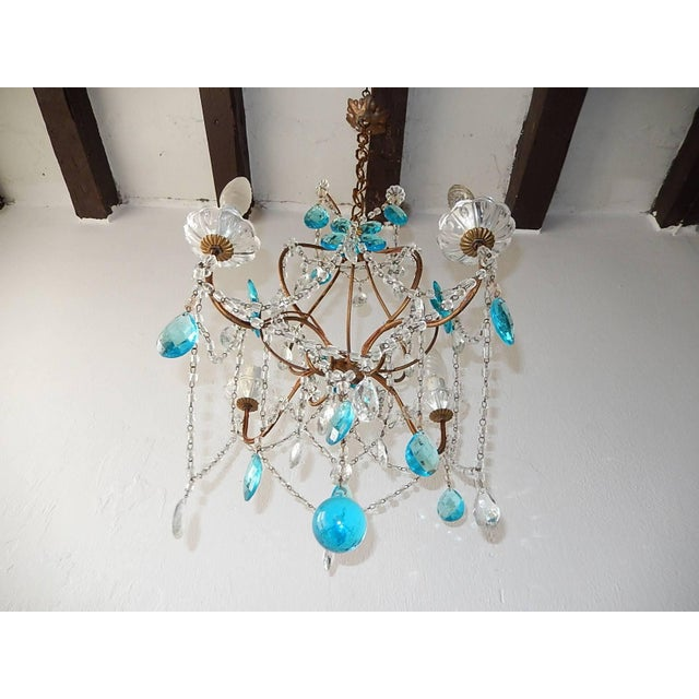 Baroque 1920 French Bagues Style Aqua Flowers Crystal Chandelier For Sale - Image 3 of 10
