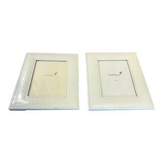 Creme Crocodile Embossed Patent Leather Picture Frames - a Pair For Sale