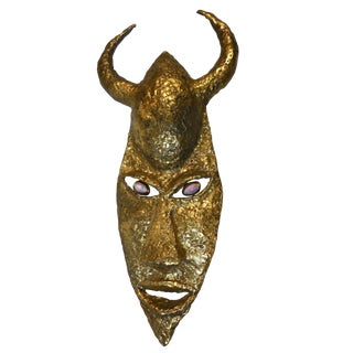 French Bronze Mask Wall Sculpture For Sale