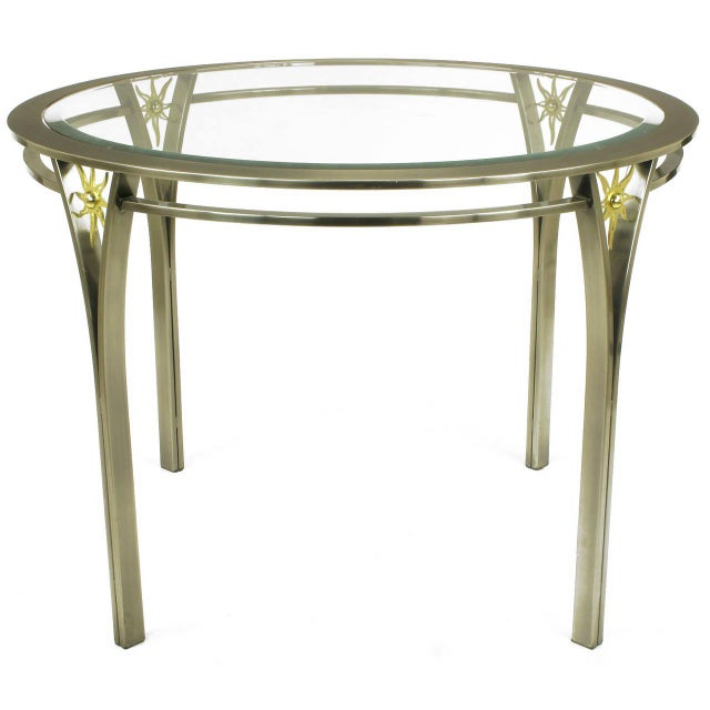 DIA - Design Institute America DIA Round Brushed Steel and Brass Sunburst Dining Table For Sale - Image 4 of 8