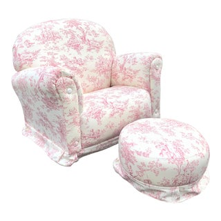 Pink Towille Child's Chair Rocker & Ottoman For Sale