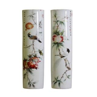Pair Ceramic White Base Color Flower Half Round Wall Vases For Sale