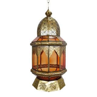 Moorish Brass & Orange Glass Lantern For Sale