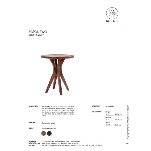 Boton Two Side Table in Conacaste Solid Wood For Sale - Image 4 of 5