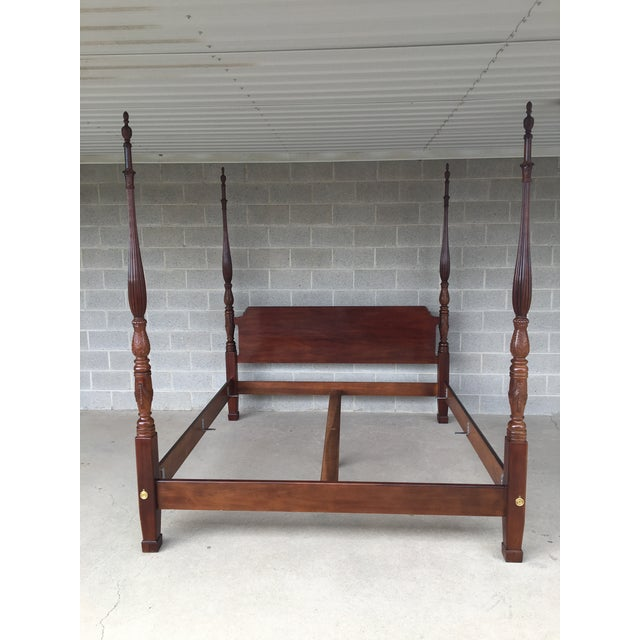 Henredon Mahogany King Size Chippendale Style Rice Tobacco Poster Bed For Sale - Image 13 of 13