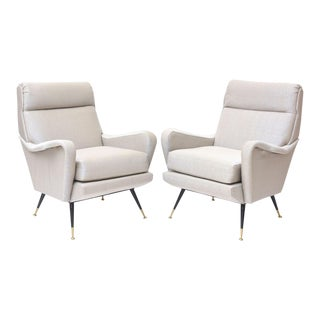 Pair of Italian Brass Enameled and Upholstered Armchairs, Style Carlo de Carli For Sale