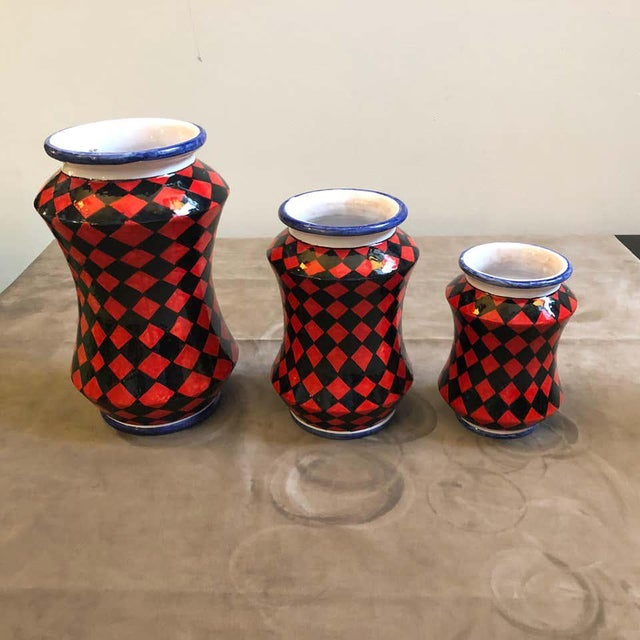Pieces Hand Painted Sicilian Terracotta Albarello Vases - Set of 3 For Sale - Image 4 of 11