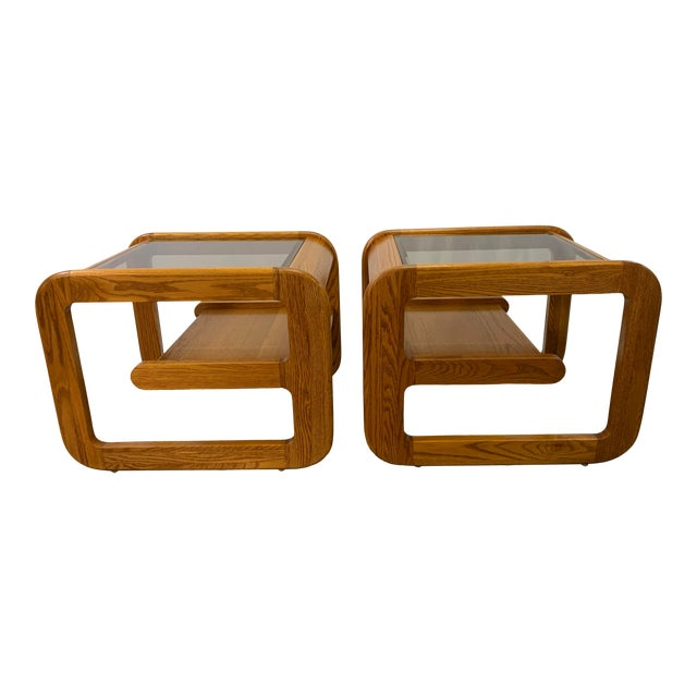 1970s Mid-Century Modern Lou Hodges Oak and Smoked Glass End Tables -- a Pair For Sale