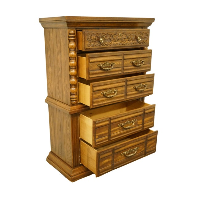 """Late 20th Century 20th Century Tuscan Broyhill Furniture Oak 39"""" Chest on Chest For Sale - Image 5 of 12"""