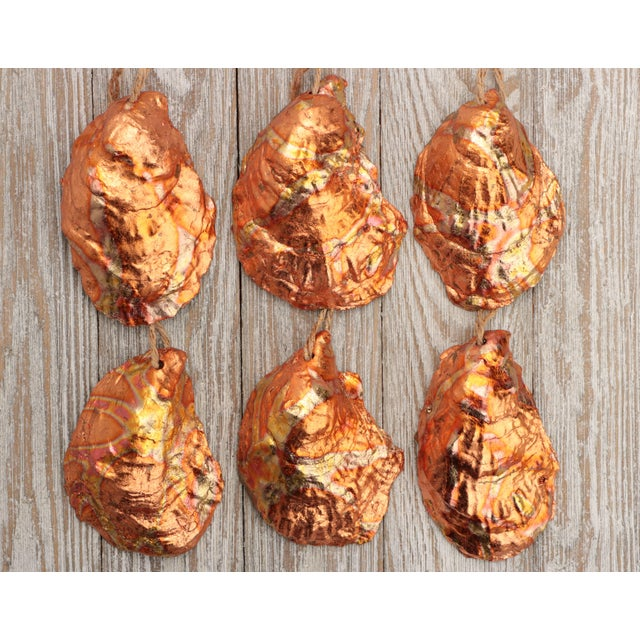 Flame Gilded Oyster Shell Christmas Ornaments - Set of 6 For Sale - Image 4 of 9