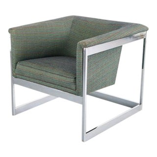 Floating Cube Chair by Milo Baughman in Chrome Frame For Sale