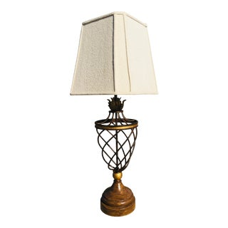 1970s Modern Hollywood Regency Gilded Wrought Iron Table Lamp For Sale