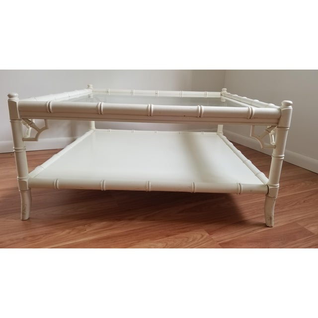 Boho Chic 1970s Hollywood Regency Thomasville Square Bamboo Coffee Table For Sale - Image 3 of 13