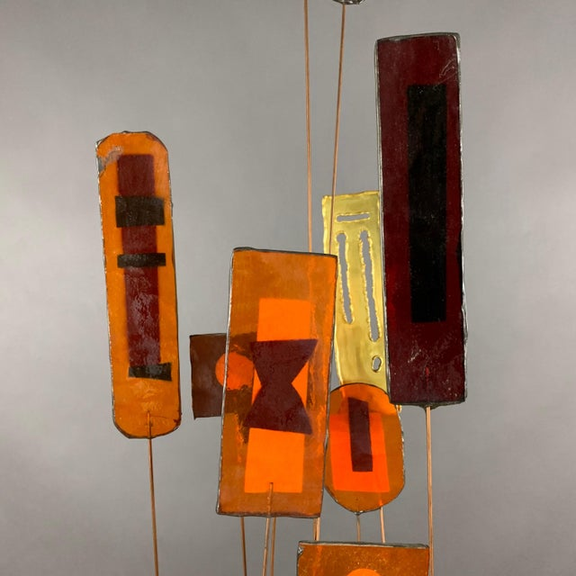 """1950s 1950s C. Jere Fused Glass & Metal Kinetic 53"""" Sculpture For Sale - Image 5 of 11"""