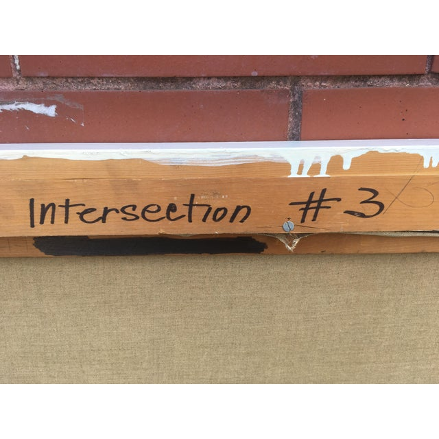 """Acrylic Paint Vintage Mid-Century """"Intersection #3"""" Oil & Acrylic Painting For Sale - Image 7 of 9"""