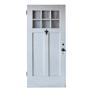 1940s Traditional White Painted Wooden Six Window Entry Door For Sale