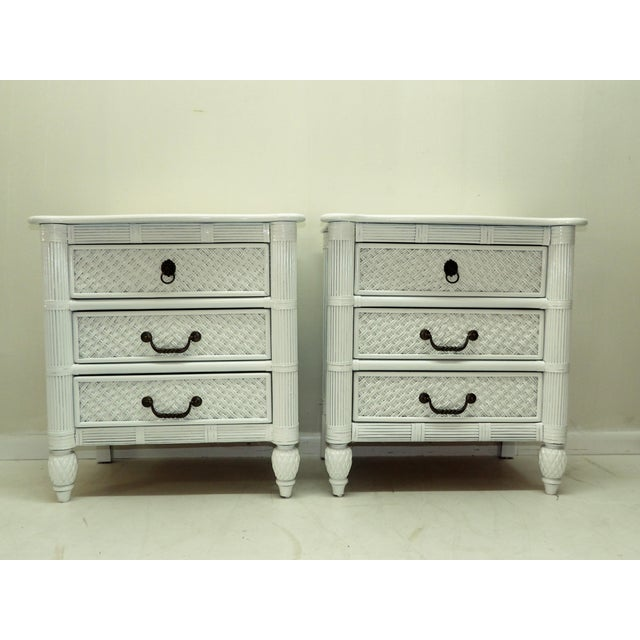 Metal Lexington Rattan & Carved Wood Nightstands - a Pair For Sale - Image 7 of 7
