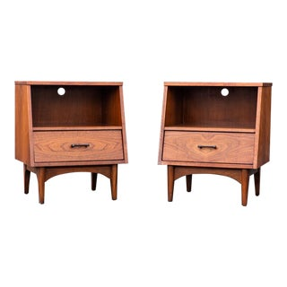 Kroehler Mid-Century Modern Walnut and Rosewood Nightstands - a Pair