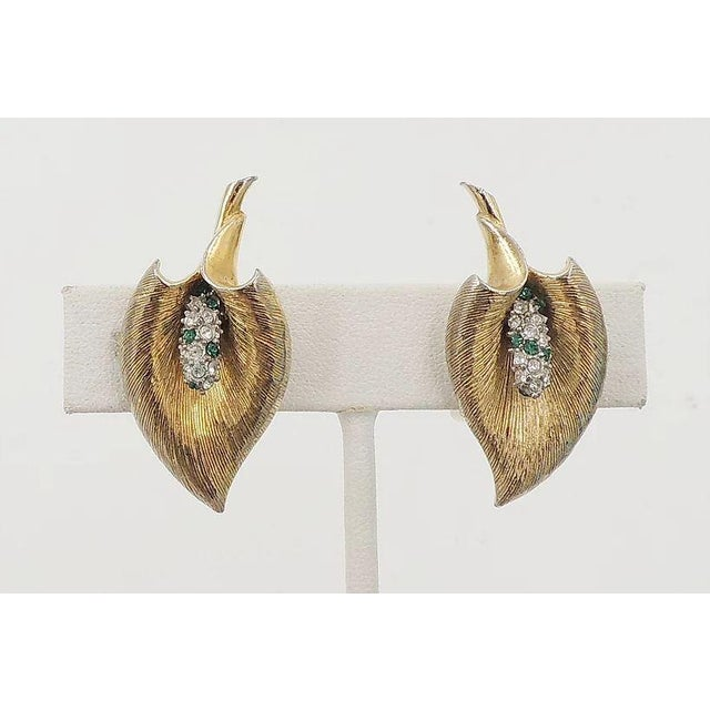 Boucher Late 1950s Boucher Calla Lilly Rhinestone Earrings For Sale - Image 4 of 9