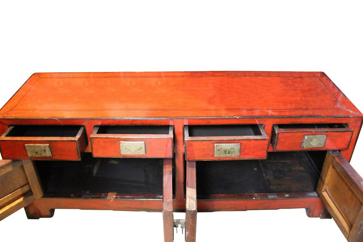Chinese Distressed Red Low TV Console Table Cabinet Chairish