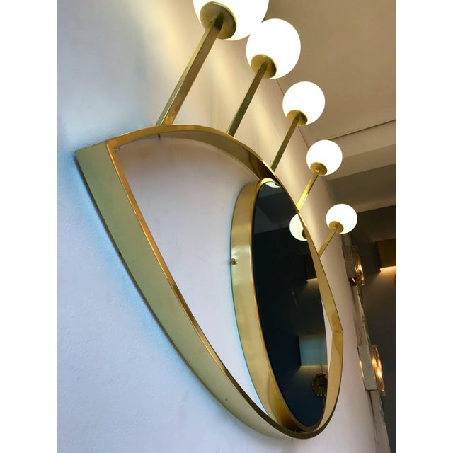 Gold Contemporary Brass Wall Lightning Sconces Mirror Blue Eyes, Italy For Sale - Image 8 of 10