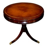 Image of Vintage Traditional Stickley Leather Top Round Table W/Pedestal Base & Brass Capped Feet For Sale