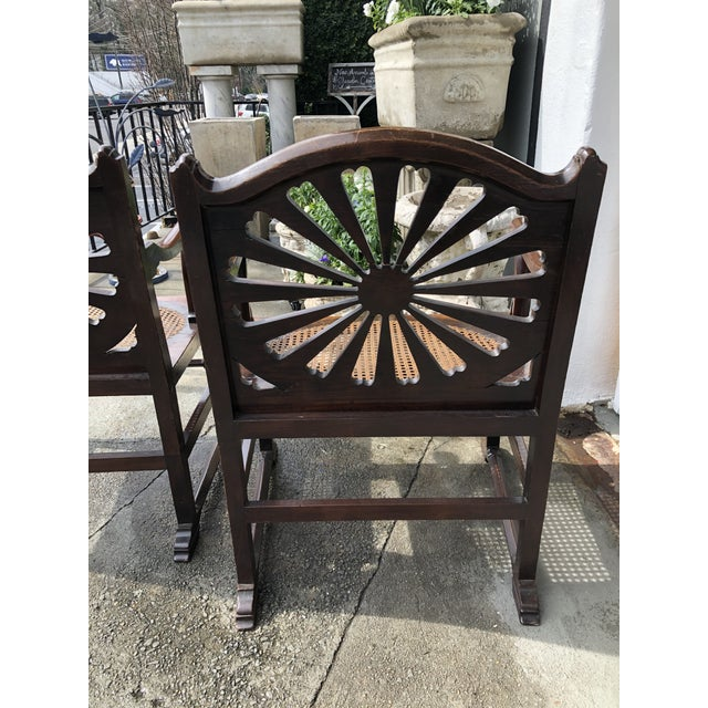 Wood Fine 18th Century English Mahogany Hall Chairs With Oval Cane Seats, a Pair For Sale - Image 7 of 13