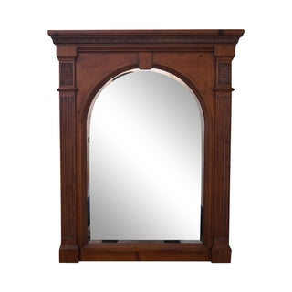 Ethan Allen Light Pine Arch Beveled Glass Mirror For Sale