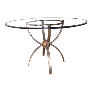 Ethan Allen Radius Collection Glass Dining Table For Sale