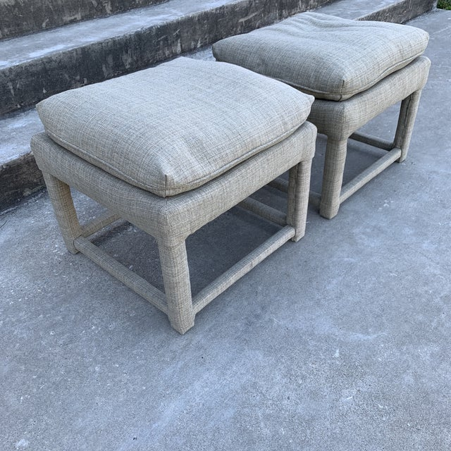 Hollywood Regency Milo Baughman Parsons Style Ottomans - a Pair For Sale - Image 3 of 11