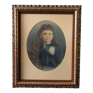 Vintage Portrait of a Victorian Girl Painting For Sale