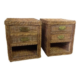Pair of Rattan Wicker Night Stands / Tables