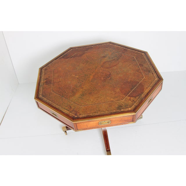 English Regency Drum Table With Campaign-Style Hardware / Filttings For Sale - Image 4 of 12