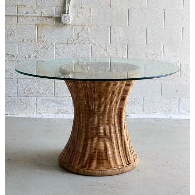 1960s Trompe L' Oeil Wicker Rattan Dining Set – 5 Pieces For Sale - Image 9 of 11