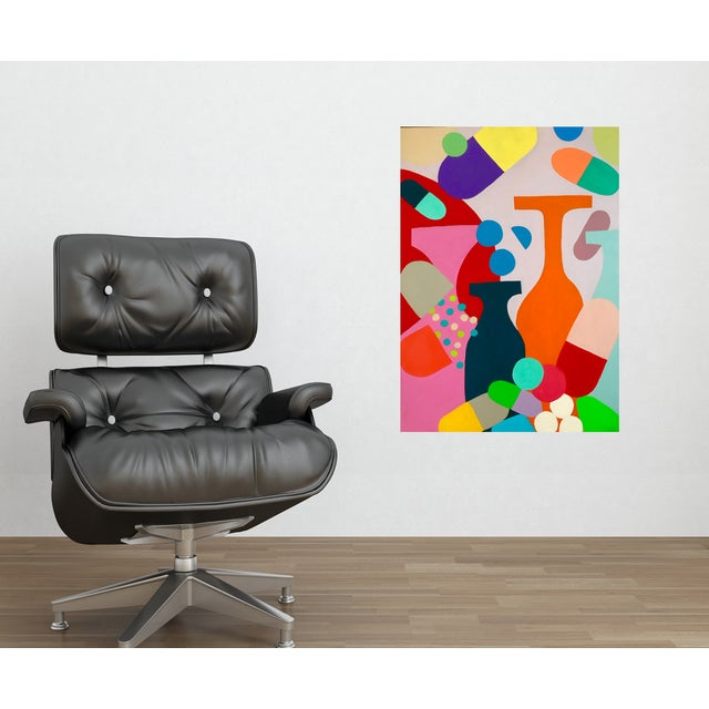 """Original abstract artwork in beautiful Mid-Century style wood and chrome frame. This painting is part of my """"Valley of the..."""